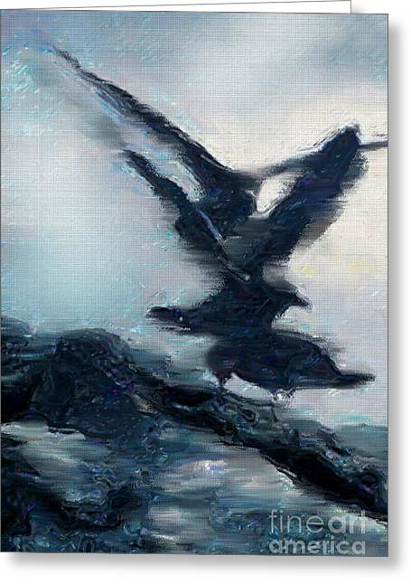 Flying Seagull Digital Art Greeting Cards - Seagull Grace Greeting Card by Betty LaRue
