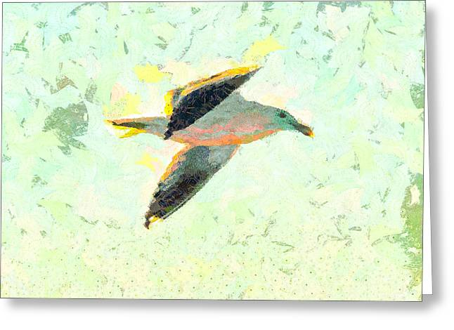 Seabirds Mixed Media Greeting Cards - Seagull In Flight Greeting Card by Priya Ghose