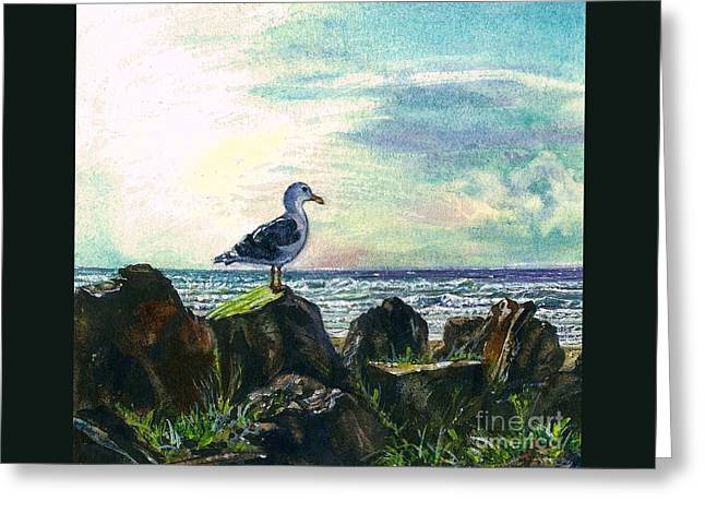 Seabirds Greeting Cards - Seagull Lookout Greeting Card by Cynthia Pride
