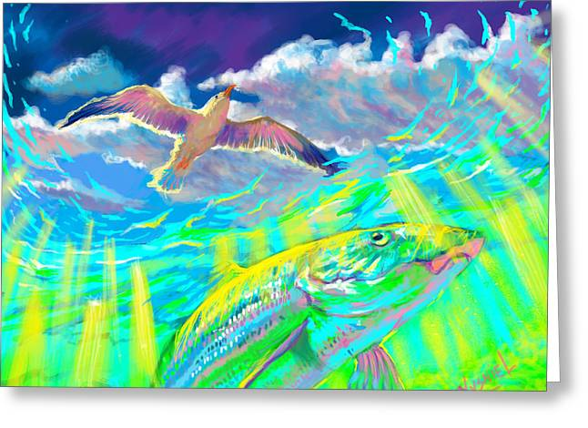 Shark Digital Art Greeting Cards - Seagull Over The Flats  Greeting Card by Yusniel Santos