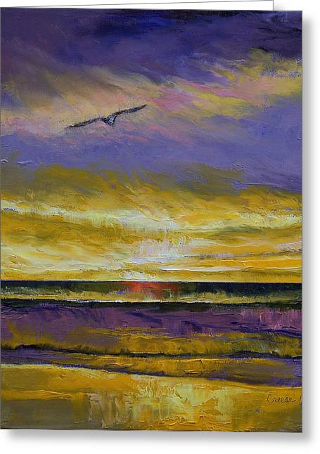 Oceano Greeting Cards - Seagull Sunset Greeting Card by Michael Creese