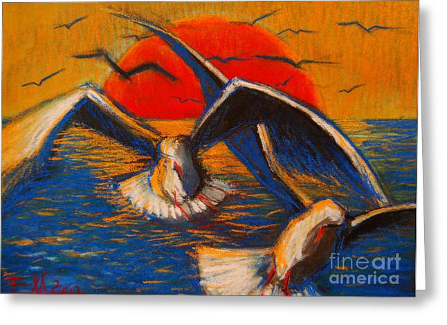 Flying Bird Pastels Greeting Cards - Seagulls At Sunset Greeting Card by Mona Edulesco