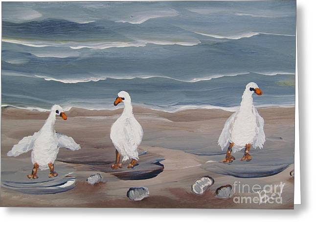 Seagulls At The Beach Greeting Card by Beverly Livingstone