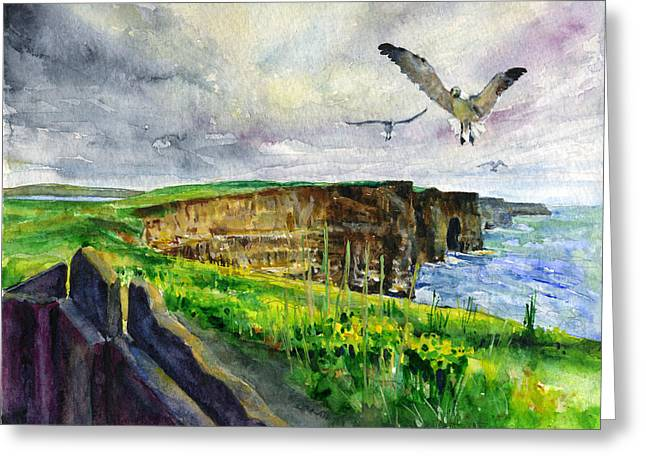 Sea Birds Greeting Cards - Seagulls at the Cliffs of Moher Greeting Card by John D Benson