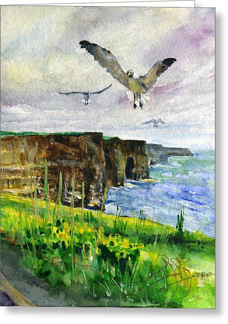 Sea Birds Greeting Cards - Seagulls at the Cliffs of Moher Portrait Greeting Card by John D Benson