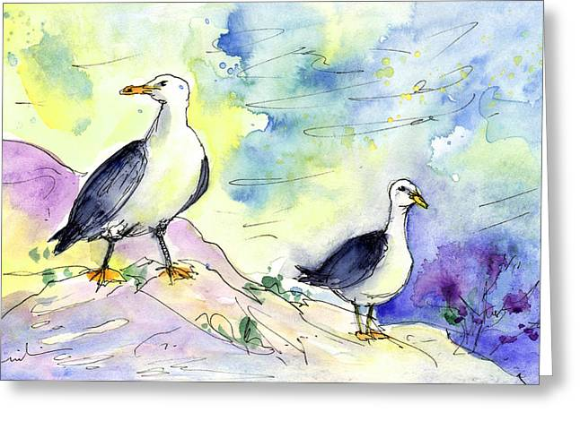 Seagulls In Calpe In Spain Greeting Card by Miki De Goodaboom