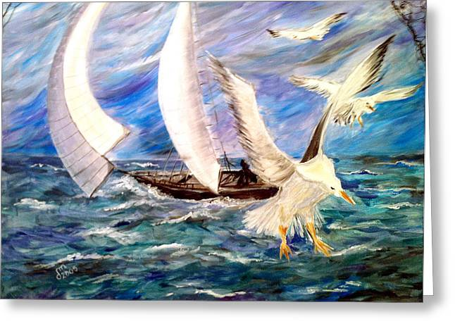 Storm Prints Paintings Greeting Cards - Seagulls In The Storm Greeting Card by Dorothy Maier