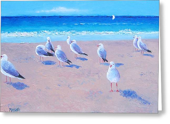 Cabin Wall Greeting Cards - Seagulls Greeting Card by Jan Matson