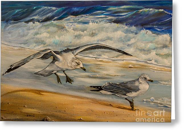 Birds Paintings Greeting Cards - Seagulls on the beach Greeting Card by Zina Stromberg