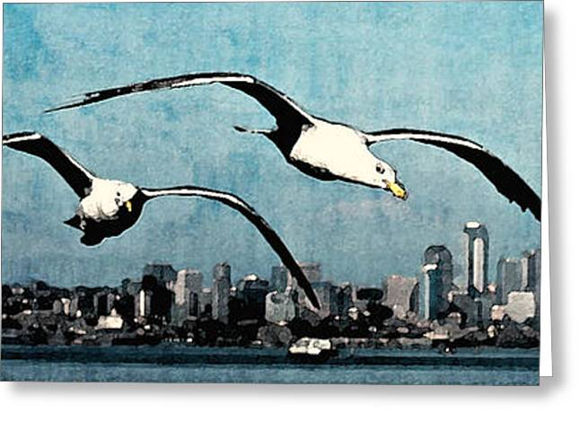 Flying Seagull Greeting Cards - Seagulls Over Seattle Greeting Card by Michelle Newell