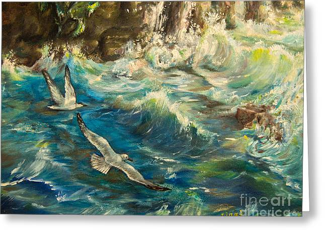 Cliffs Over Ocean Greeting Cards - Seagulls over the rough sea Greeting Card by Zina Stromberg