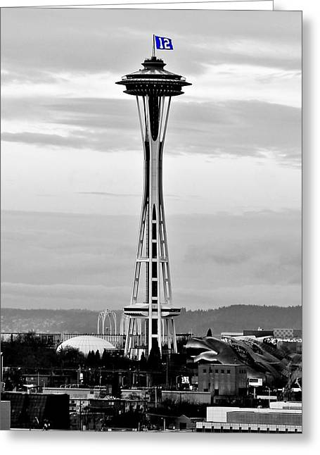 Seattle Landmarks Greeting Cards - Seahawk Pride Greeting Card by Benjamin Yeager