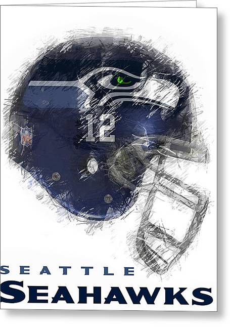 Footballs Greeting Cards - Seahawks 12 Greeting Card by Daniel Hagerman