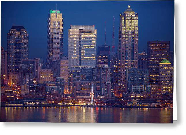 Washington Greeting Cards - Seahawks 12th Man Seattle Skyline at Dusk Greeting Card by Mike Reid