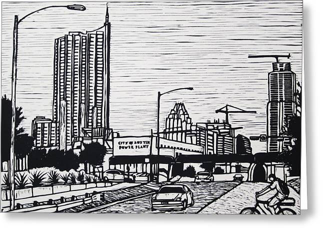 Recently Sold -  - Lino Greeting Cards - Seaholm Greeting Card by William Cauthern
