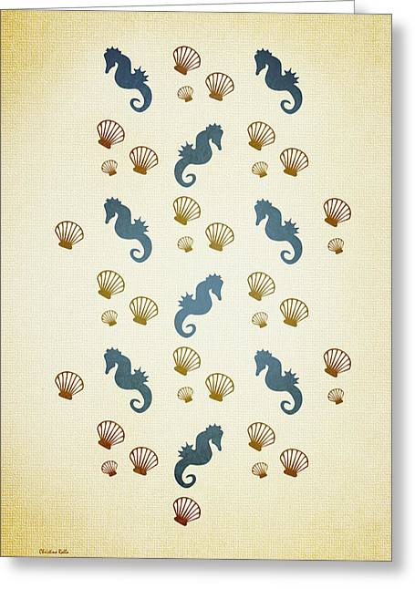 Shell Pattern Greeting Cards - Seahorse and Shells Pattern Aged Greeting Card by Christina Rollo