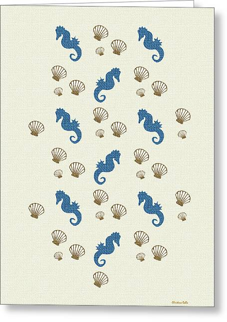 Shell Pattern Greeting Cards - Seahorse and Shells Pattern Art Greeting Card by Christina Rollo