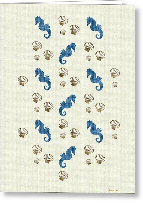 Sea Horse Greeting Cards - Seahorse and Shells Pattern Art Greeting Card by Christina Rollo