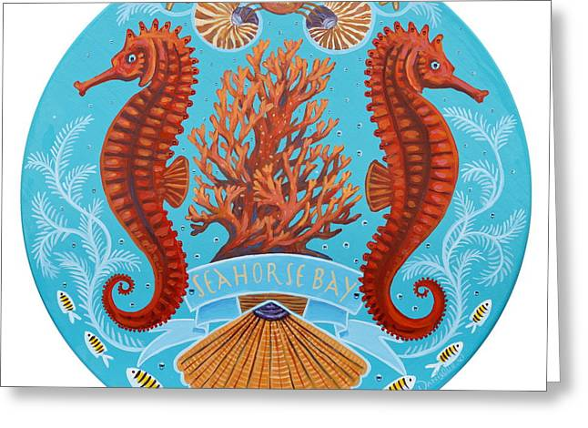 Fish Print Greeting Cards - Seahorse Bay Lazy Susan Greeting Card by Danielle  Perry
