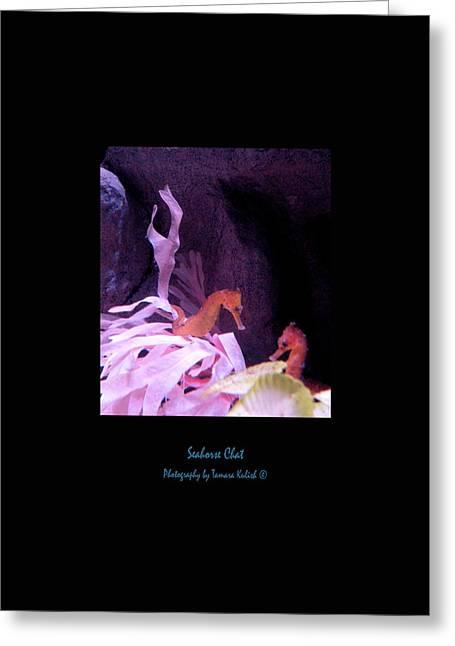 Pensive Greeting Cards - Seahorse Chat 1 Greeting Card by Tamara Kulish