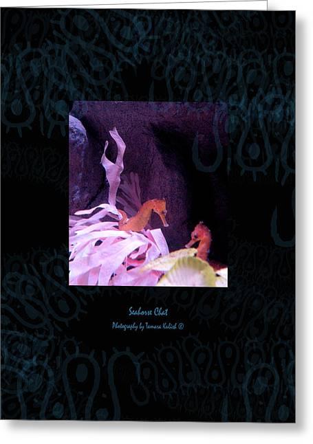Pensive Greeting Cards - Seahorse Chat 1 Texture Greeting Card by Tamara Kulish