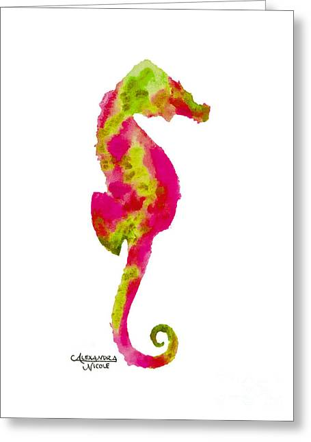 Seahorse Paintings Greeting Cards - Seahorse - Apricot Greeting Card by Alexandra Nicole Newton