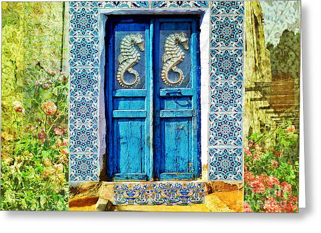 Seahorse Blue Door Crete Greece Greeting Card by Cimorene Photography