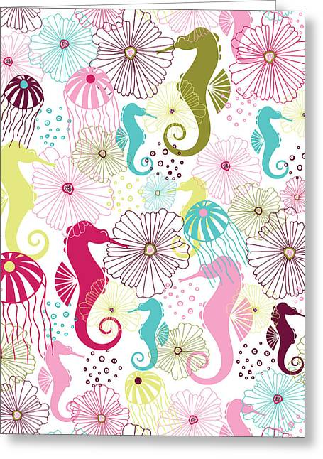 Sealife Greeting Cards - Seahorse Flora Greeting Card by Susan Claire