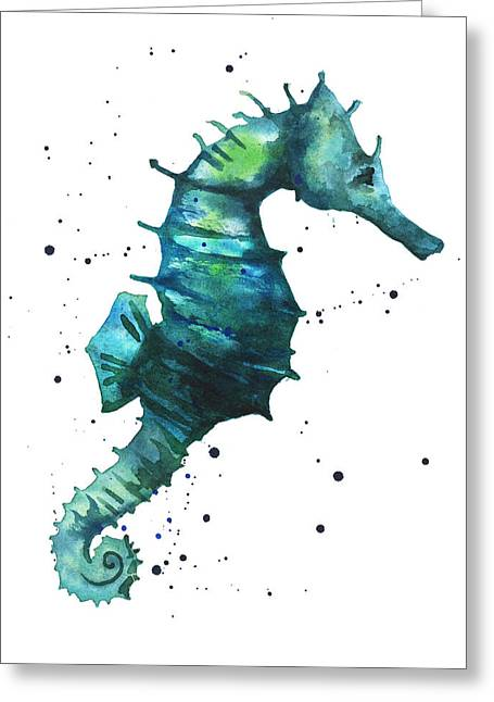 Beach House Paintings Greeting Cards - Seahorse in Teal Greeting Card by Alison Fennell