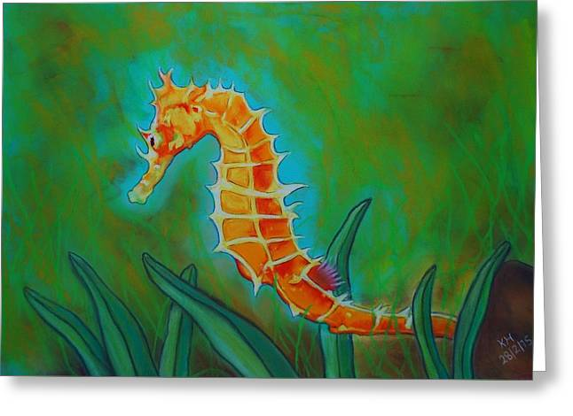 Sizes Pastels Greeting Cards - Seahorse Greeting Card by Kevin Hubbard