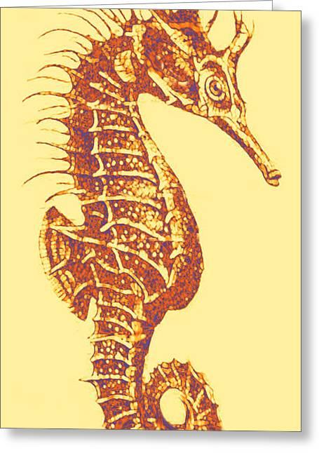 Seahorse Digital Art Greeting Cards - Seahorse- Left Facing Greeting Card by Jane Schnetlage