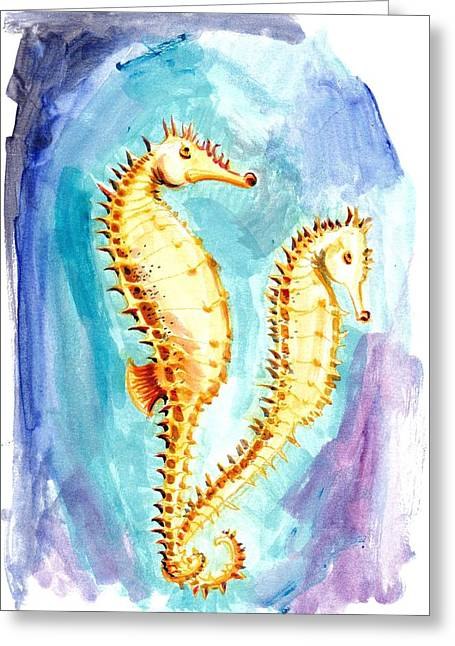 Liebe Greeting Cards - Seahorse Love Marine Watercolor Greeting Card by Tiberiu Soos