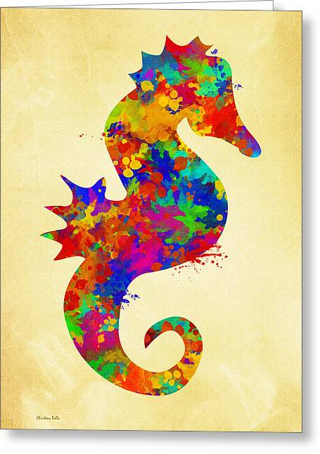 Decorative Fish Greeting Cards - Seahorse Watercolor Art Greeting Card by Christina Rollo