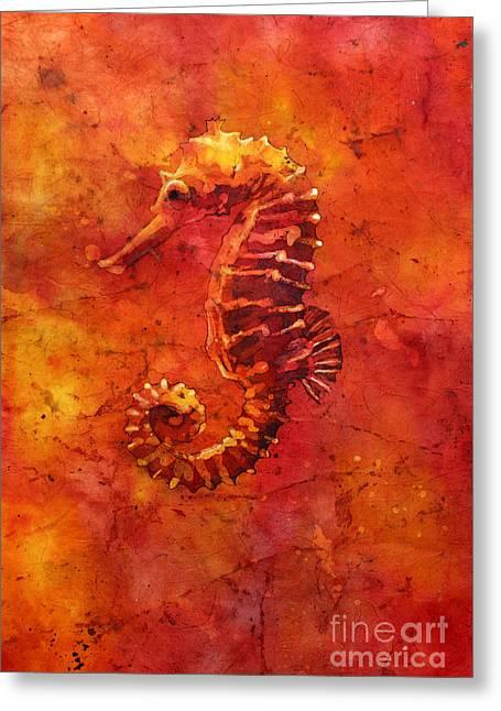 Watercolor Society Greeting Cards - Seahorse Watercolor Batik Greeting Card by Ryan Fox