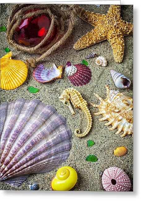 Seahorses Greeting Cards - Seahorse with many sea shells Greeting Card by Garry Gay
