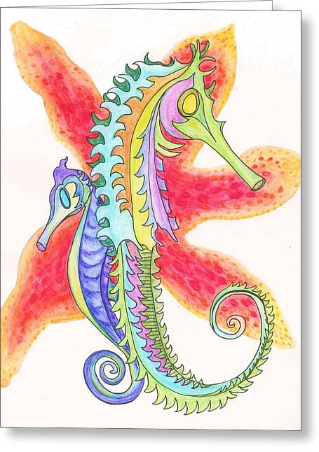 Cherie Sexsmith Greeting Cards - Seahorses Greeting Card by Cherie Sexsmith