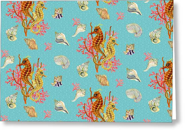 Seahorses Coral And Shells Greeting Card by Kimberly McSparran