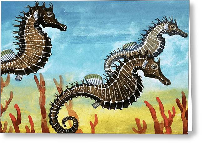 Fish Drawings Greeting Cards - Seahorses Greeting Card by English School
