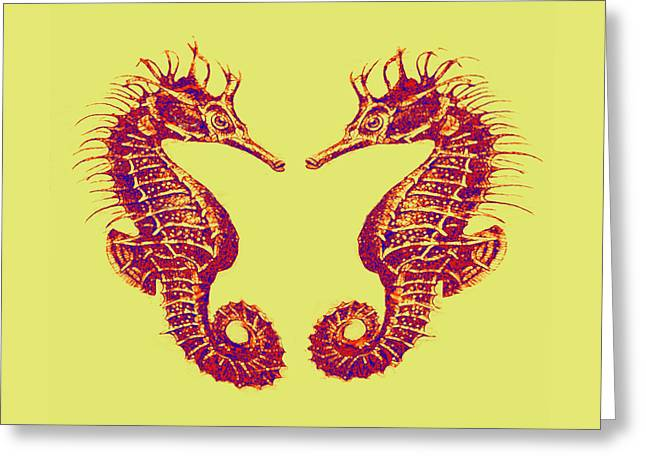 Sea Horse Greeting Cards - Seahorses In Love Greeting Card by Jane Schnetlage