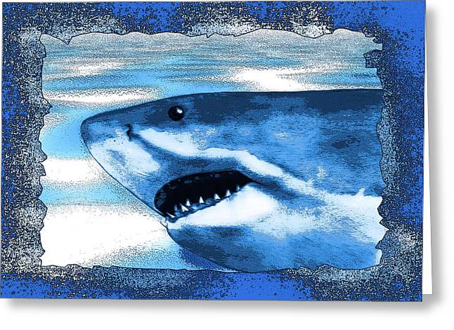 White Shark Mixed Media Greeting Cards - SeaHunt Greeting Card by Christopher Korte