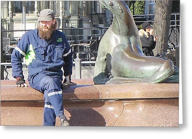 People Pyrography Greeting Cards - Seal And Man Greeting Card by Yury Bashkin