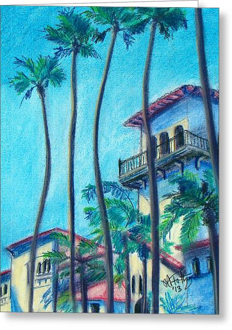 Art Of Building Pastels Greeting Cards - Seal Beach City Hall Greeting Card by Michael Foltz