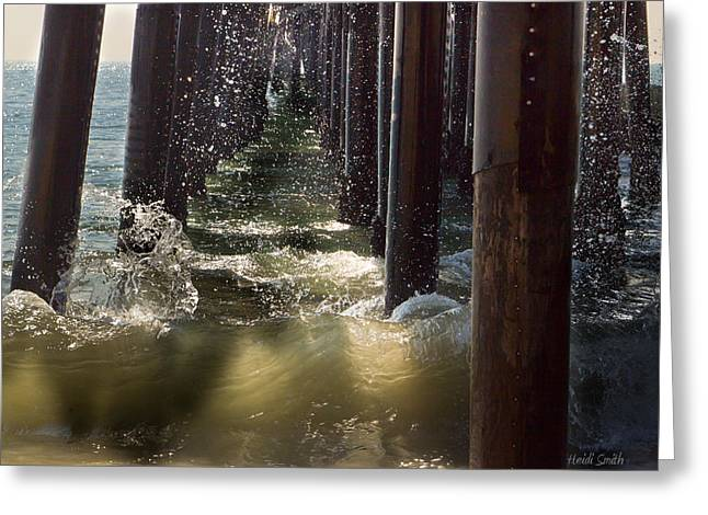 Tide Up Greeting Cards - Seal Beach Pier Surf Greeting Card by Heidi Smith