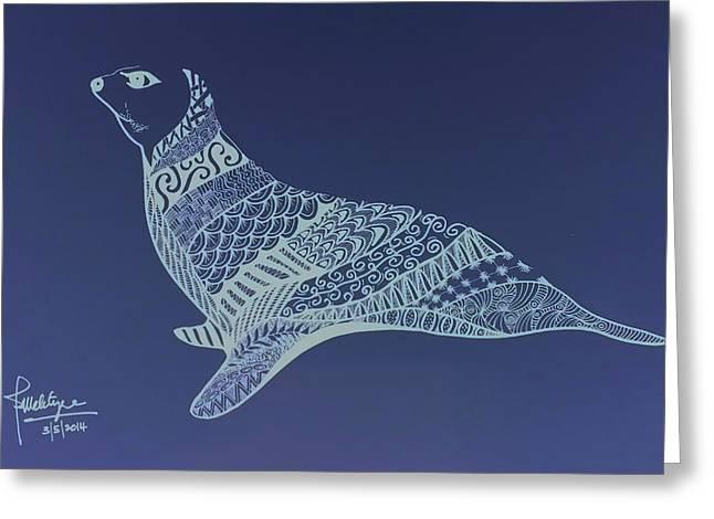 Sea Lions Drawings Greeting Cards - Seal Greeting Card by Debbie McIntyre