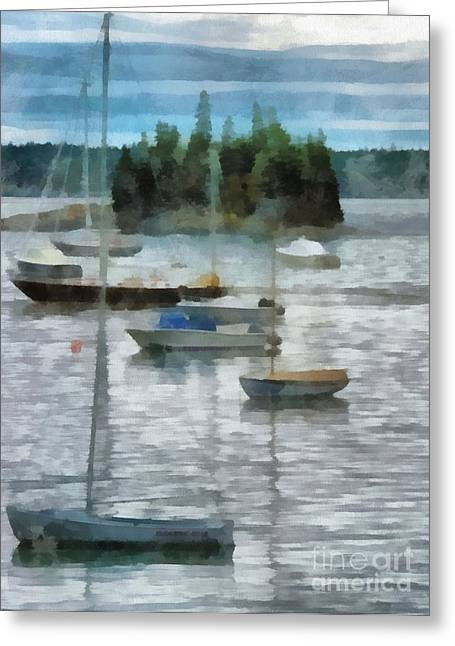 New England Marina Park Greeting Cards - Seal Harbor Maine Greeting Card by Helene Guertin