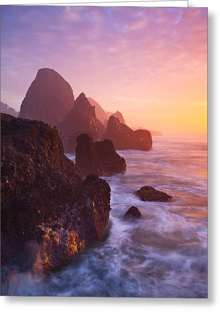 Keyhole Greeting Cards - Seal Rock Sunset Greeting Card by Darren  White