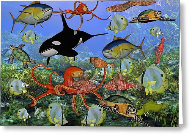 Ocean Scenes Greeting Cards - Sealife Dreamland Greeting Card by Betsy C  Knapp