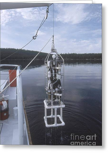 Environmental Science Greeting Cards - Sealogger Being Deployed Greeting Card by William H. Mullins
