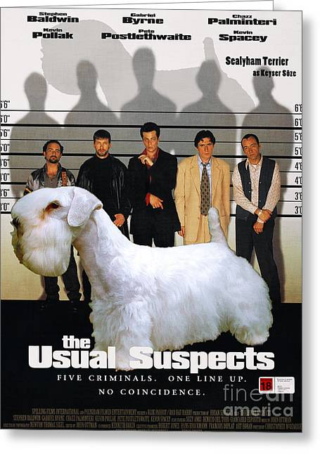 Suspect Greeting Cards - Sealyham Terrier Art Canvas Print - The Usual Suspects Movie Poster Greeting Card by Sandra Sij