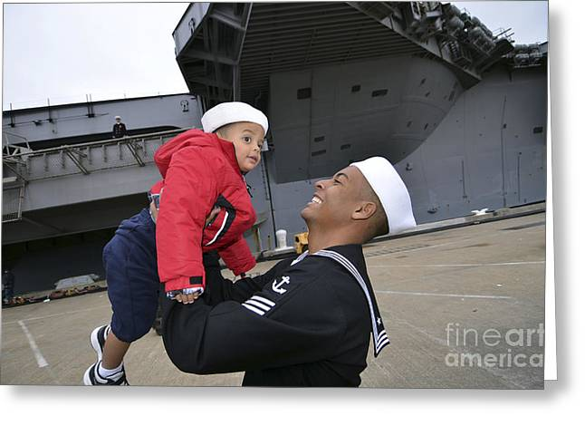 Family With One Child Greeting Cards - Seaman Greets His Son Greeting Card by Stocktrek Images